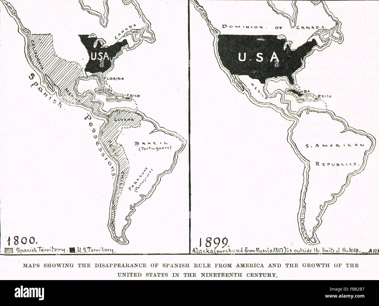 Maps showing the growth of United States of America & the decline of Spanish Rule1800-1899 - Stock Image