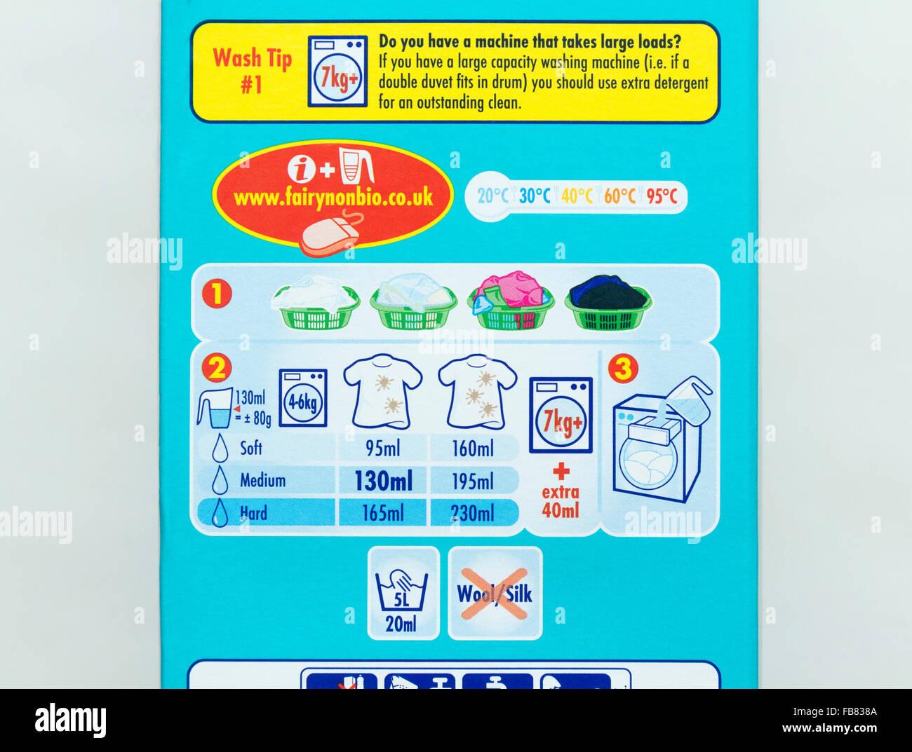 washing powder instructions - Stock Image