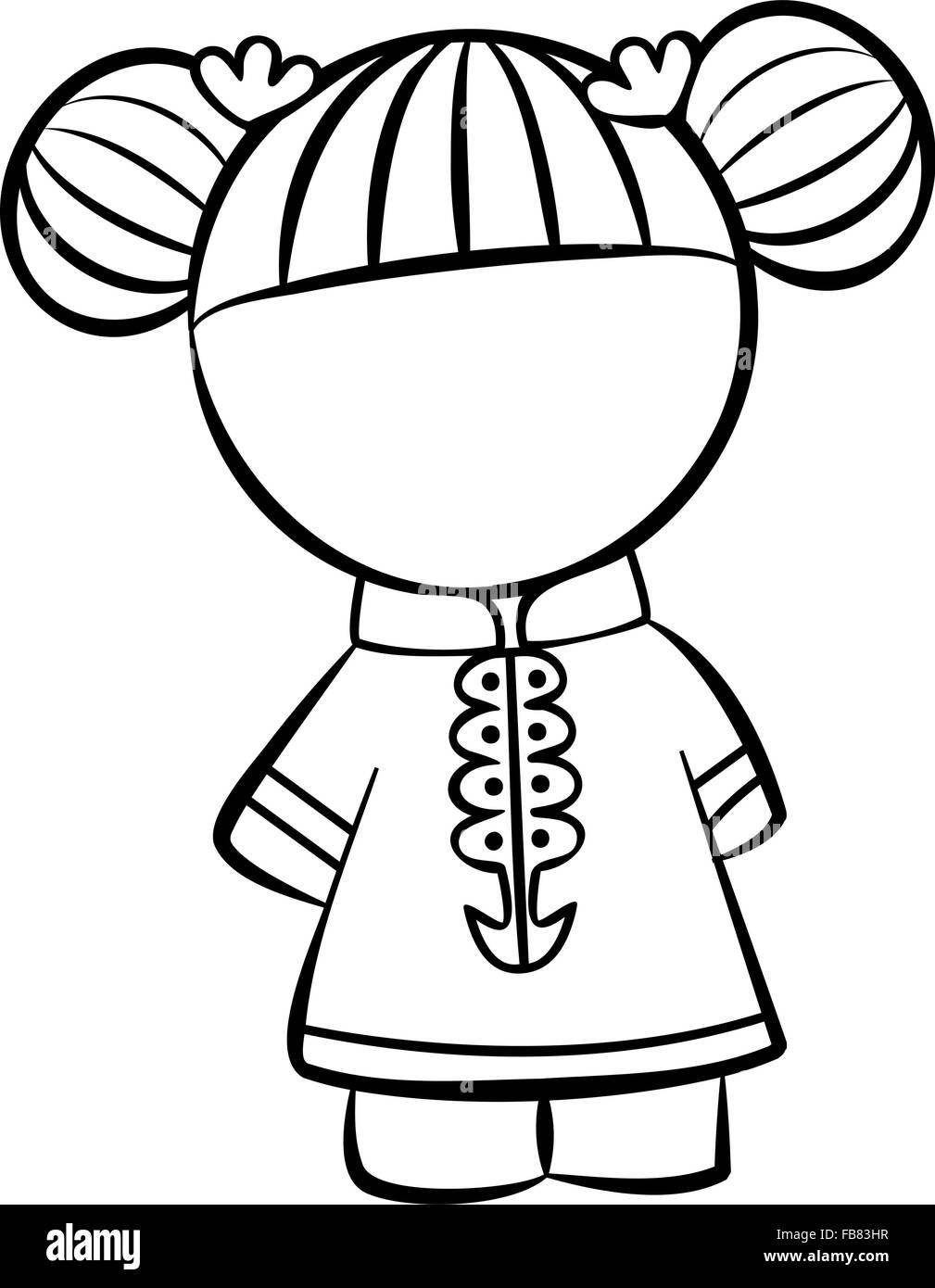 Line drawing of a little chinese girl character stock image