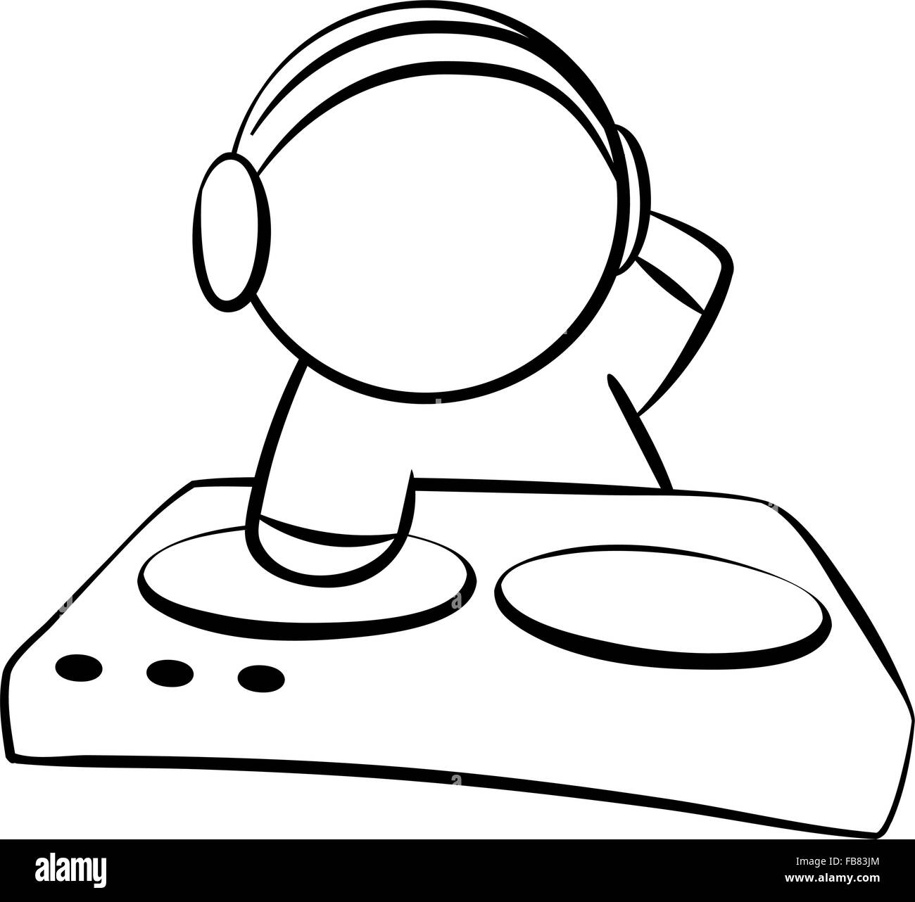 Line Drawing Of Dj Stock Vector Art Illustration Vector Image