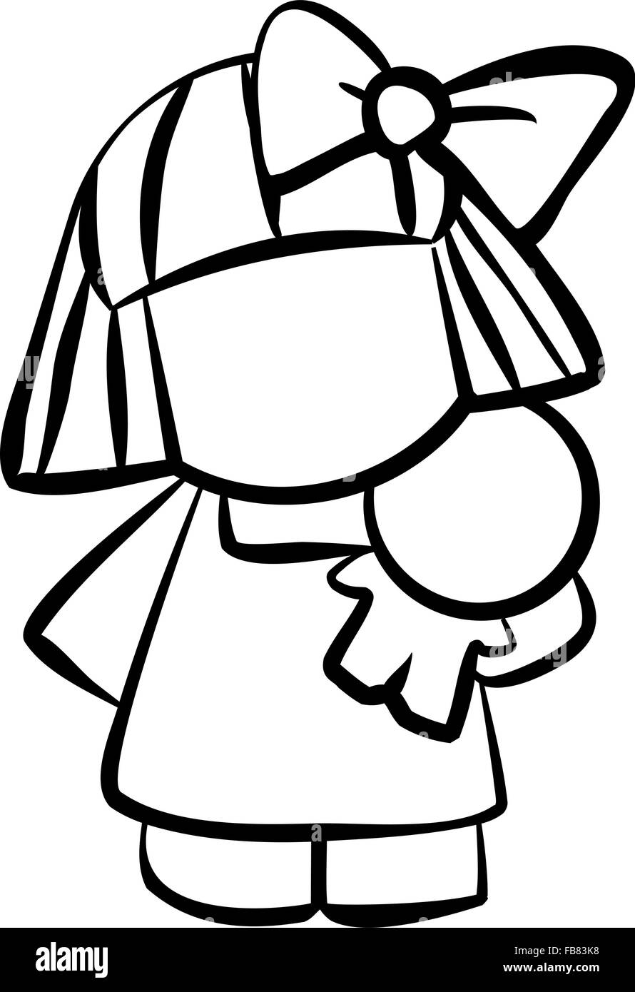Line drawing of a little girl holding a doll and looking cute