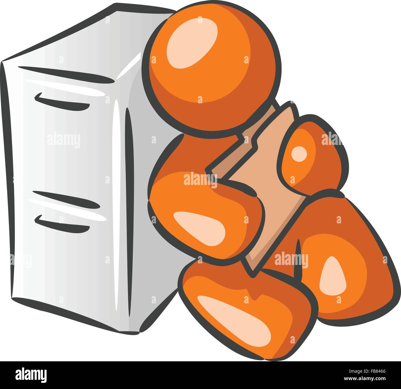 Orange person file clerk who, honestly, appears more to be a prisoner to his job. - Stock Vector