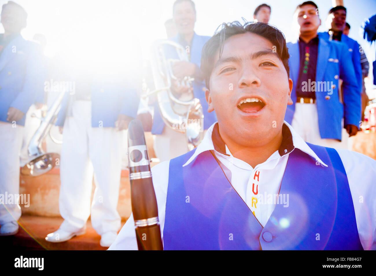 Band performing at the Fiesta de Nuestra Señora de Copacabana, Bolivia. - Stock Image