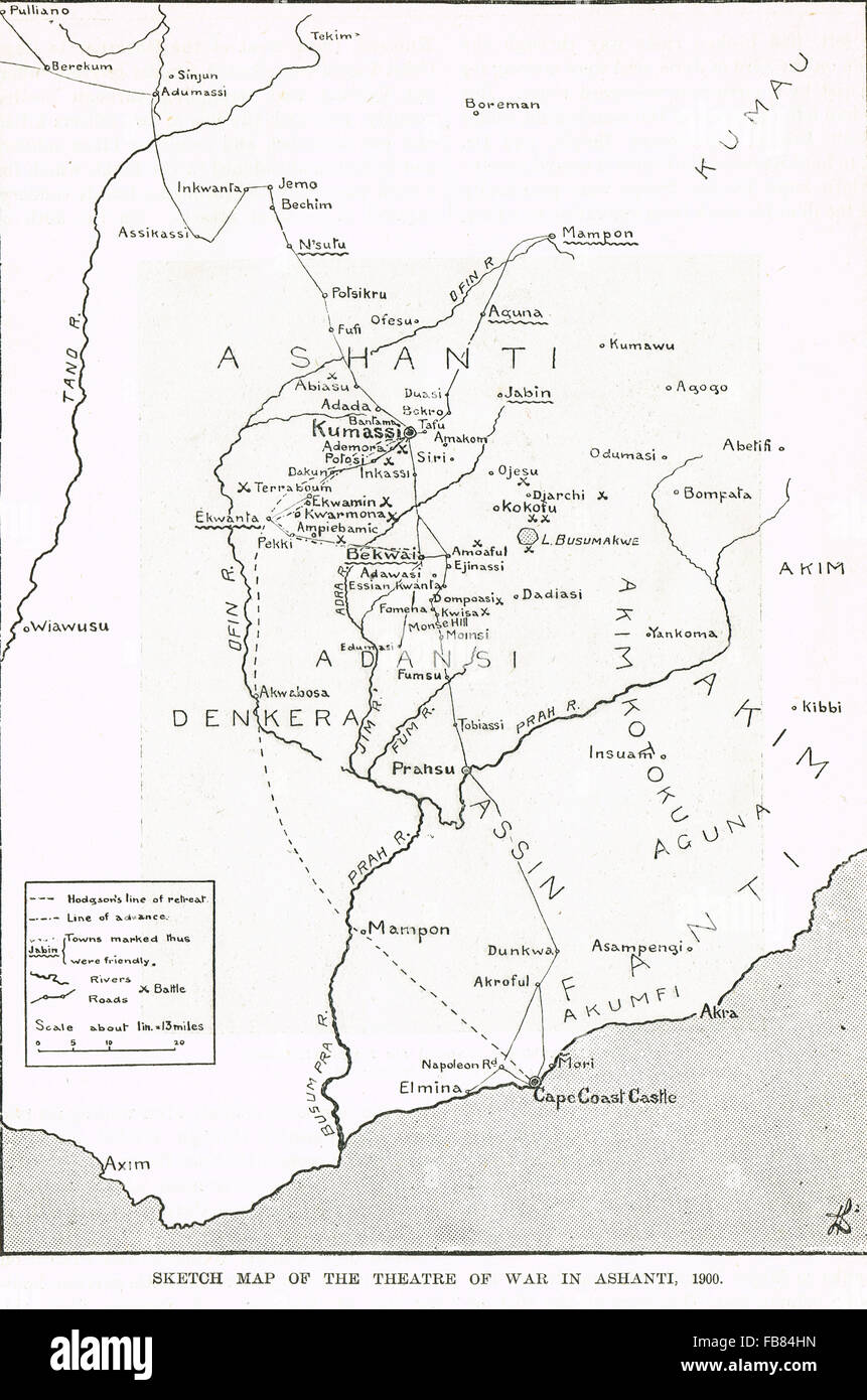 Sketch map 5th Anglo-Ashanti war 1900 - Stock Image