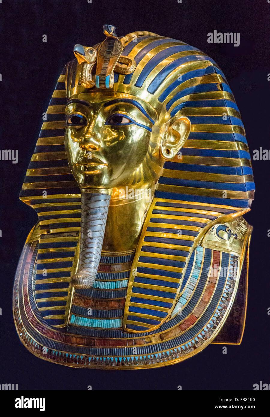 Tutankhamun's mask from the tomb of Tutankhamun at the Egyptian Museum, Cairo, Egypt - Stock Image
