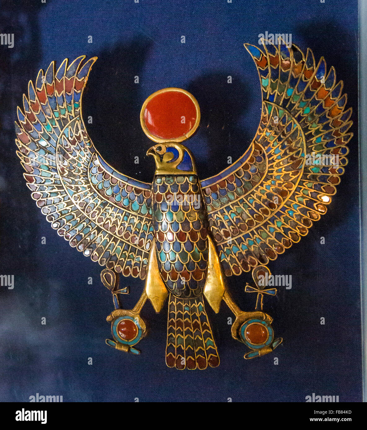 Falcon Pectoral from the tomb of Tutankhamun at the Egyptian Museum, Cairo, Egypt - Stock Image