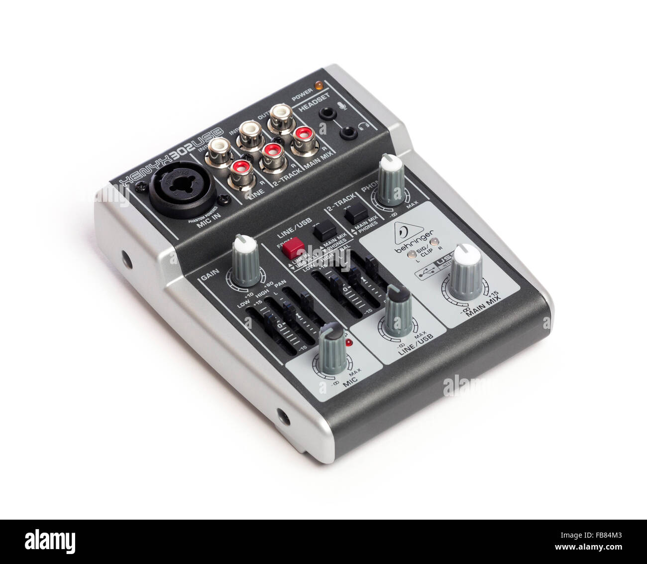 compact audio mixer with 5 inputs - Stock Image