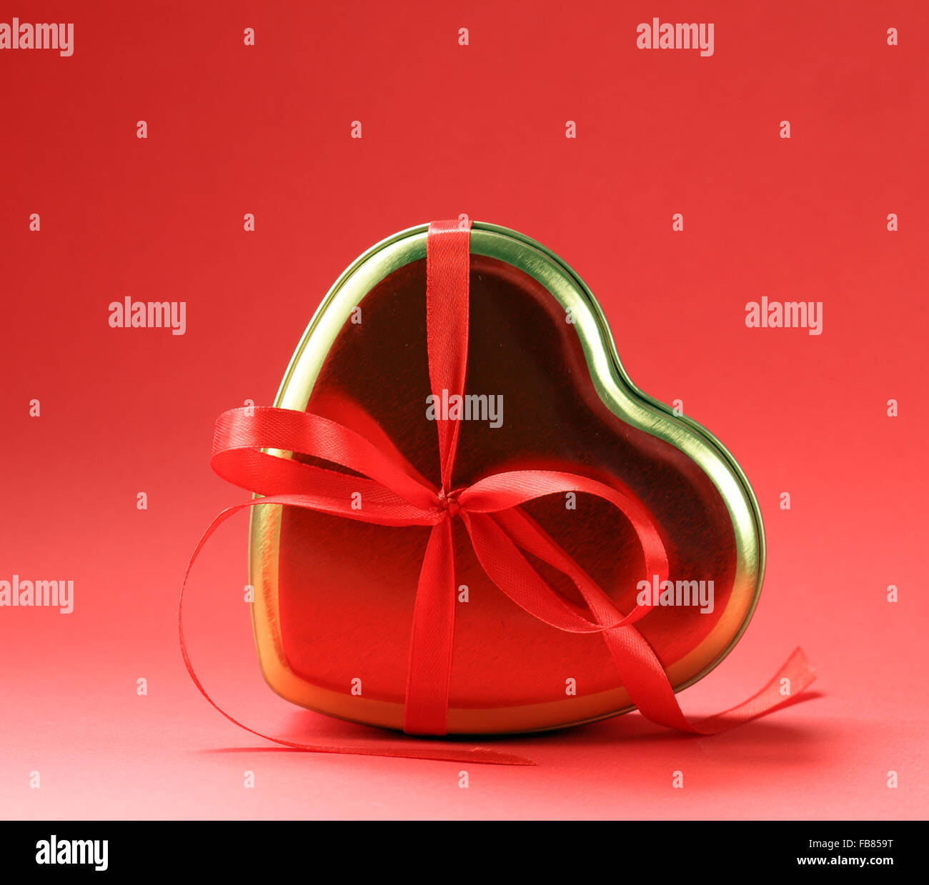 Heart and holiday gift for St. Valentine Day - Stock Image