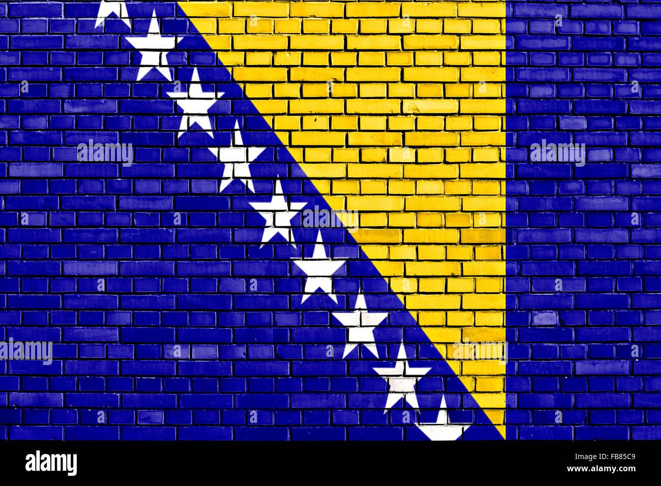 flag of Bosnia and Herzegovina painted on brick wall - Stock Image