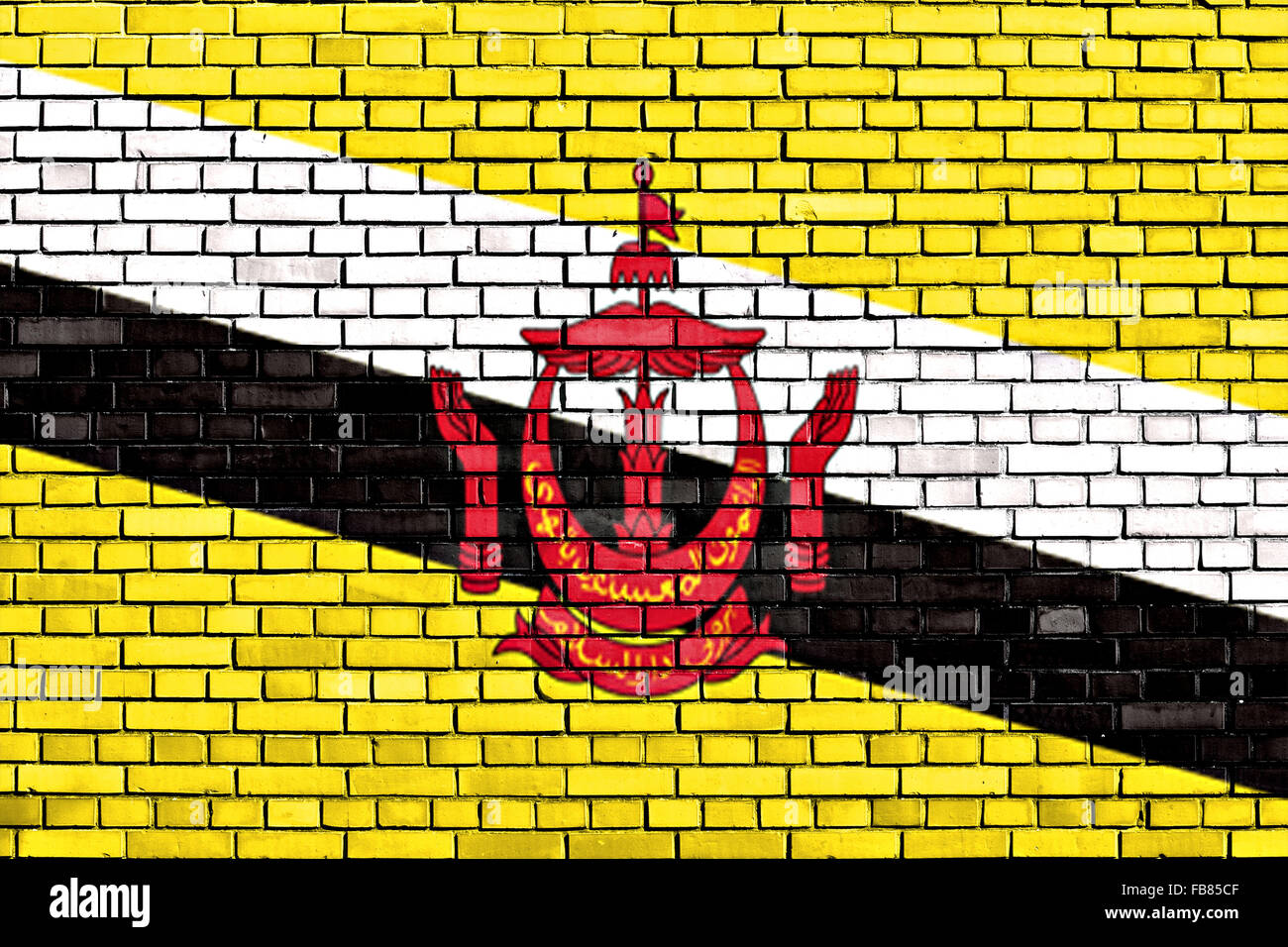 flag of Brunei painted on brick wall - Stock Image