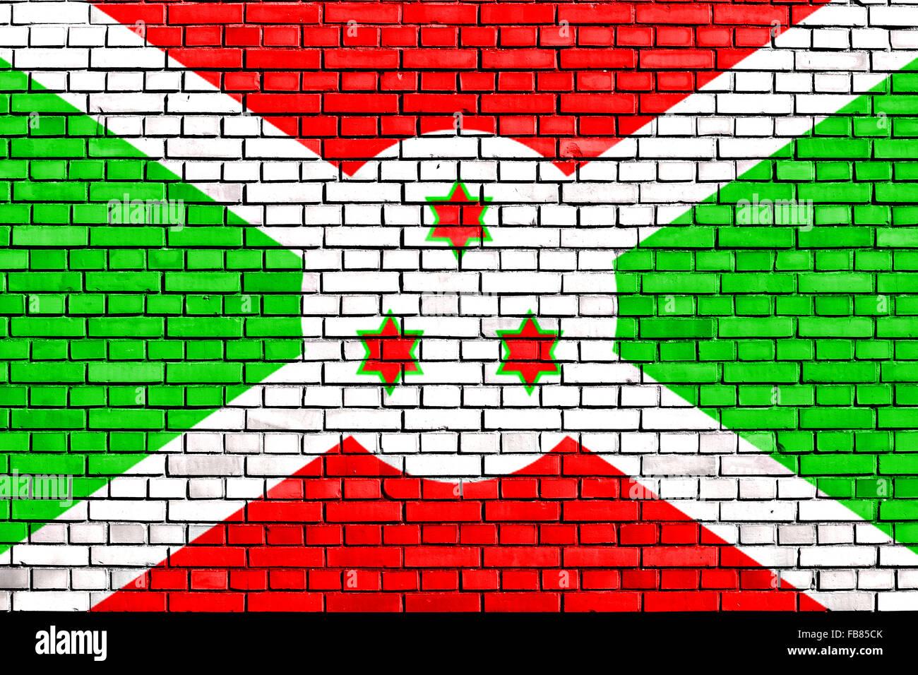 flag of Burundi painted on brick wall - Stock Image