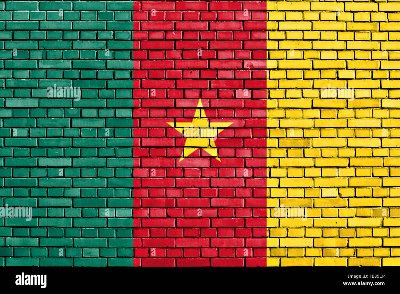 flag of Cameroon painted on brick wall - Stock Image