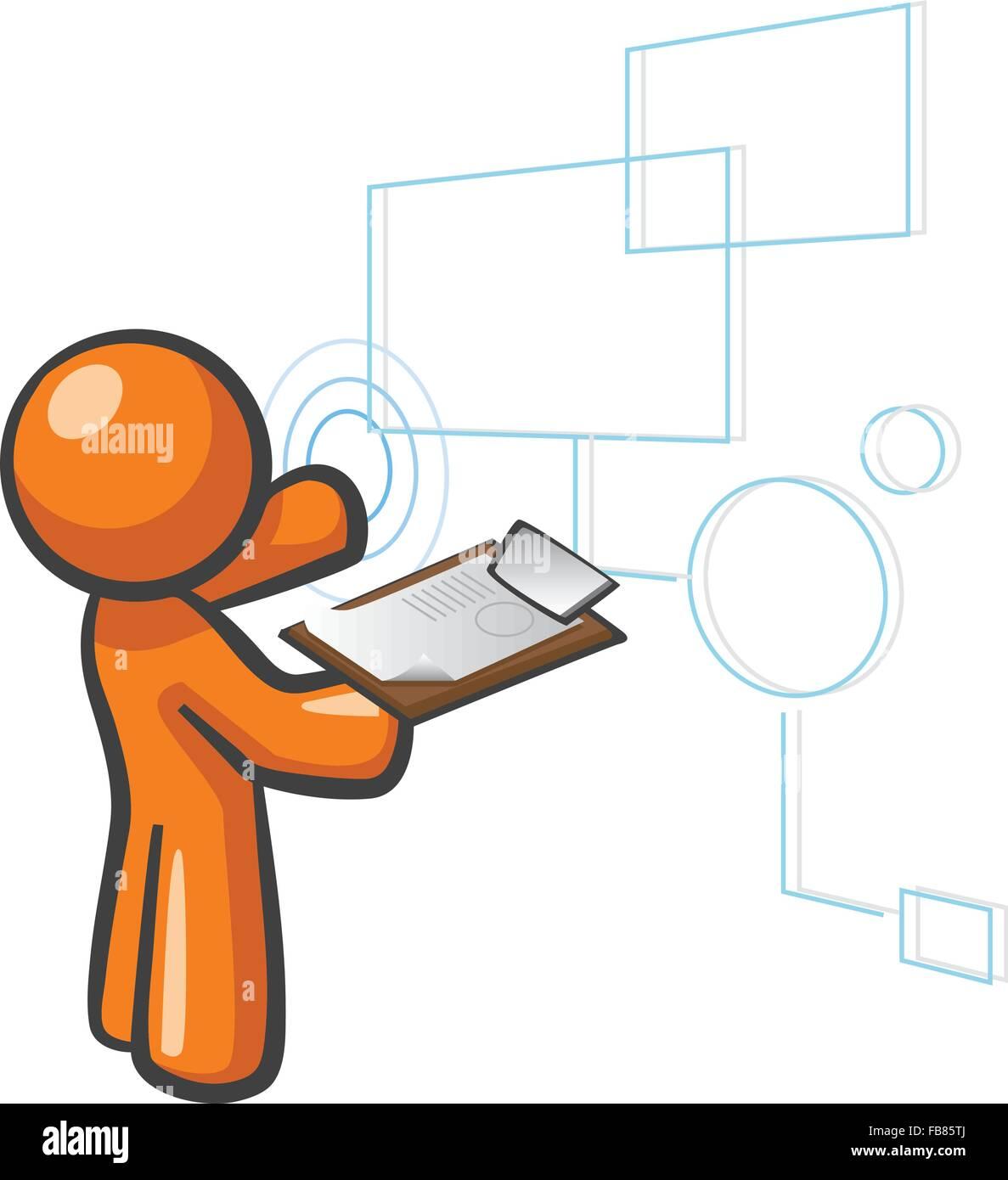 Orange Man databases concept, organizing/managing data and content. - Stock Image