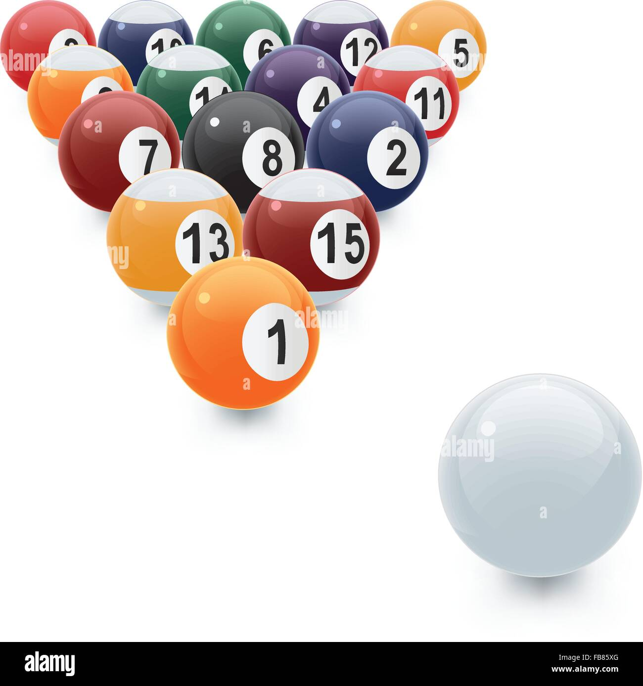 A vector illustration of a glossy set of pool balls in proper perspective with a white cue ball. - Stock Vector