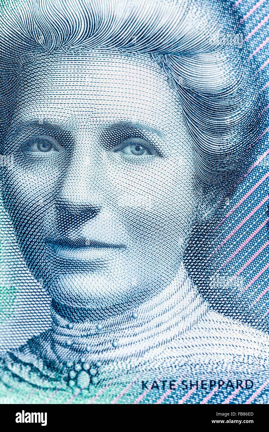 Famous kiwi Kate Sheppard on new updated  ten kiwidollar $10  New Zealand  polymer bank note NZD - Stock Image