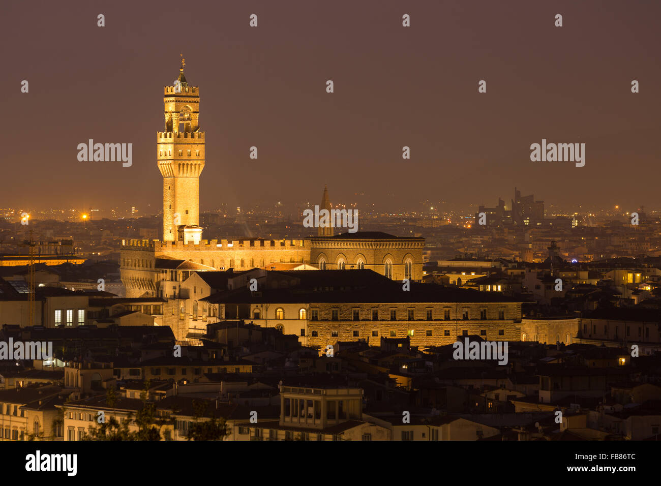 Palazzo Vecchio at night, Florence, Tuscany, Italy - Stock Image