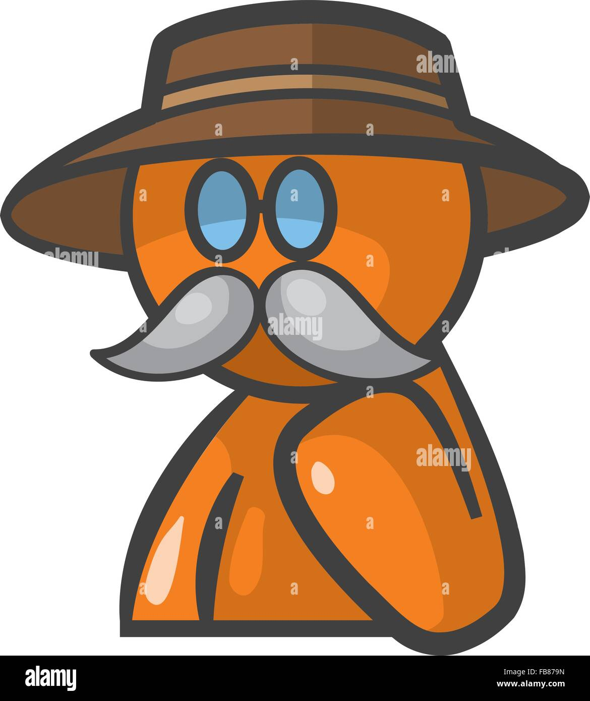 Orange person Dr Livingstone avatar with glasses, mustache, and hat. - Stock Vector