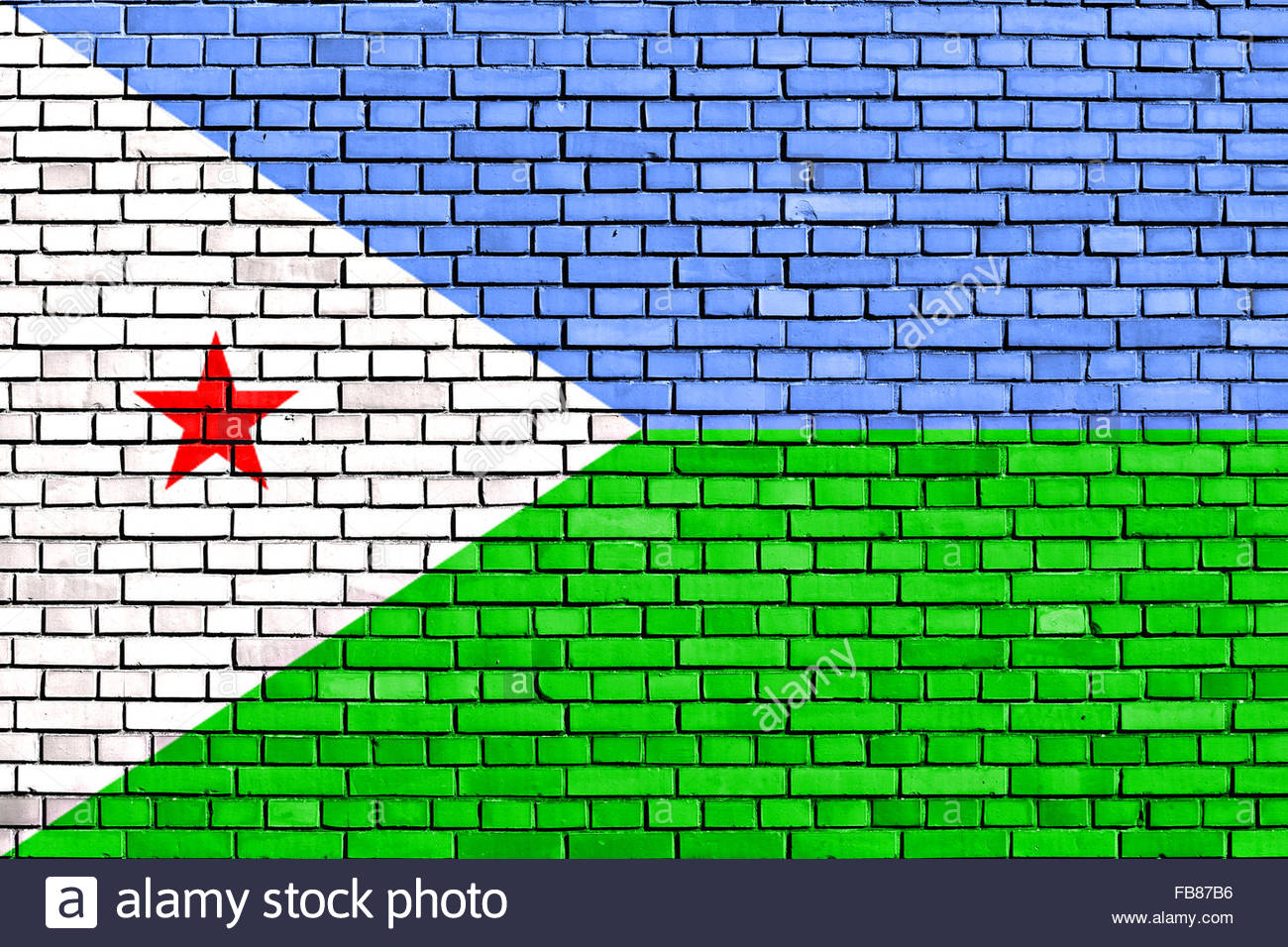 flag of Djibouti painted on brick wall - Stock Image