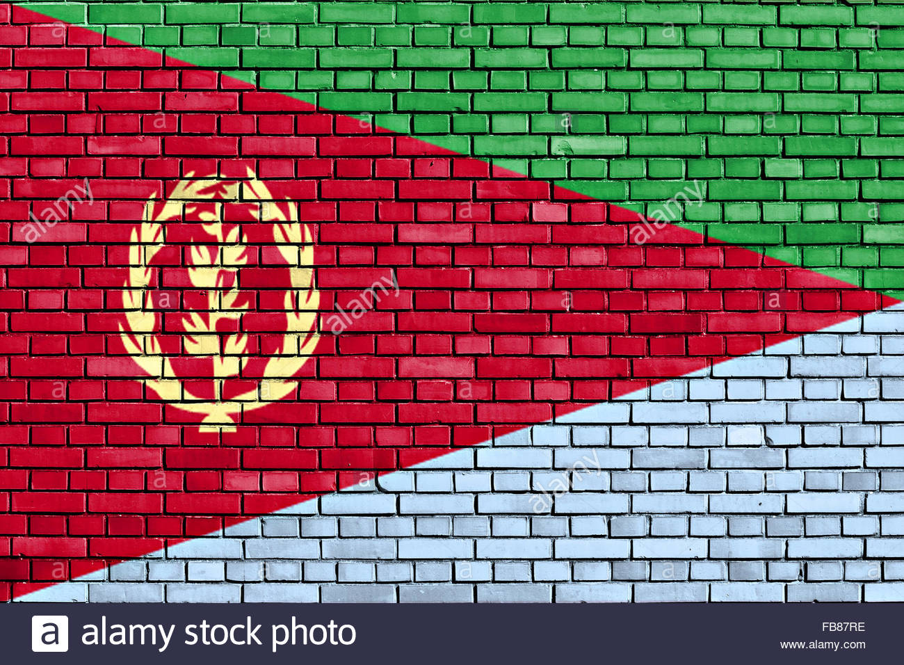 flag of Eritrea painted on brick wall - Stock Image