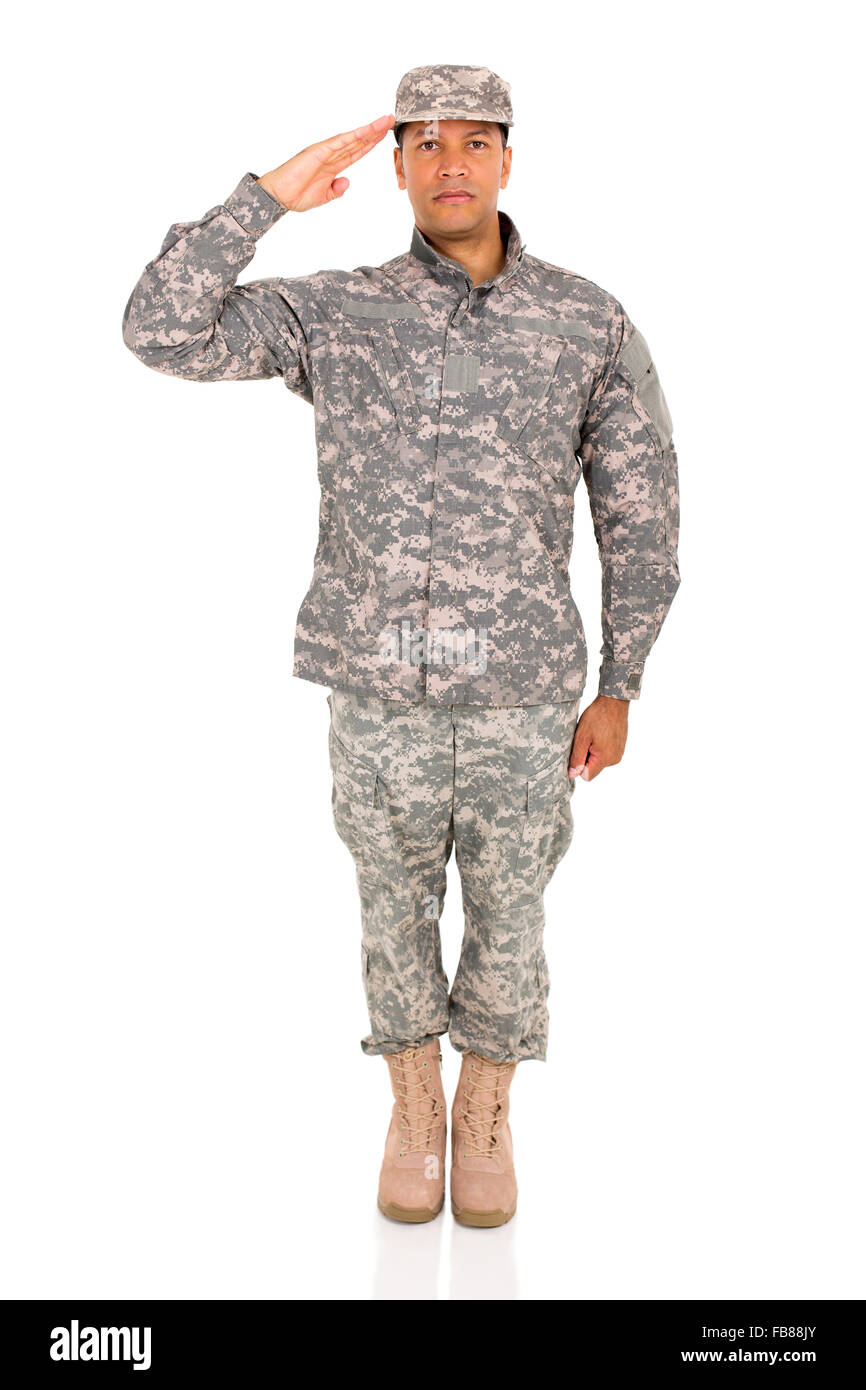 soldier saluting on white background - Stock Image