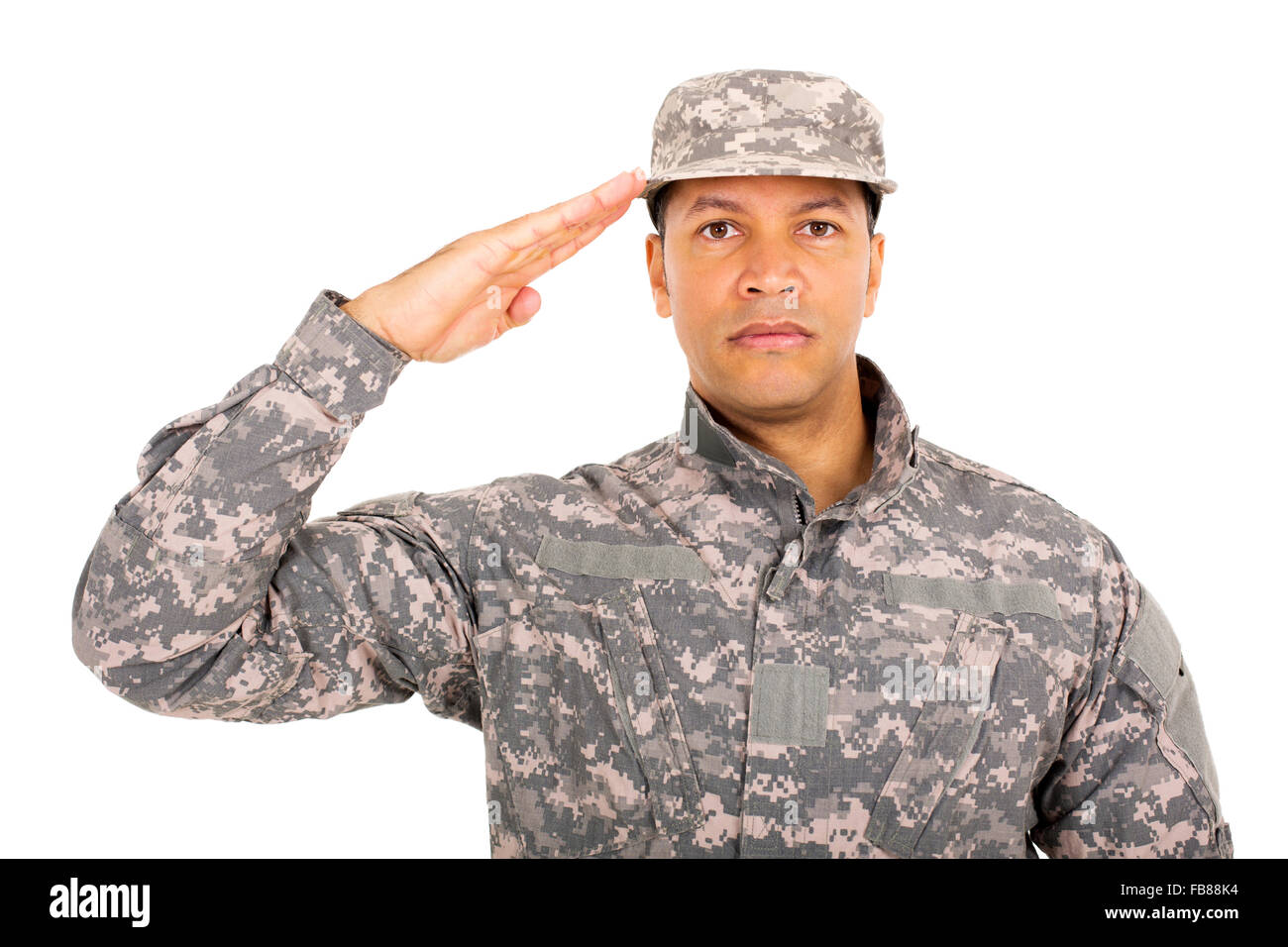 close up portrait of military soldier saluting - Stock Image