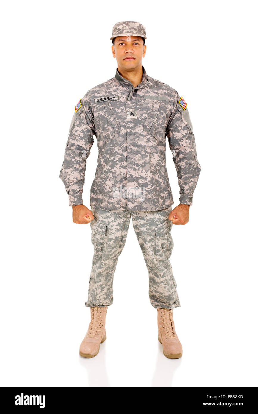 US army soldier on white background - Stock Image