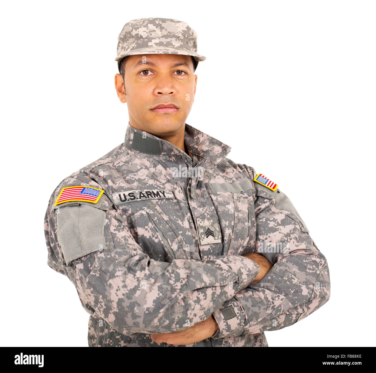 portrait of American military soldier with arms crossed - Stock Image