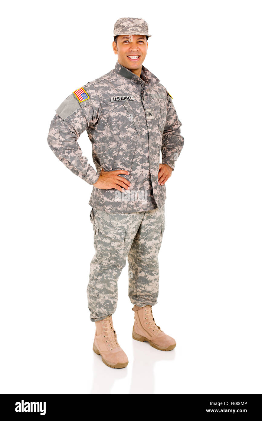 happy military serviceman posing isolated on white - Stock Image
