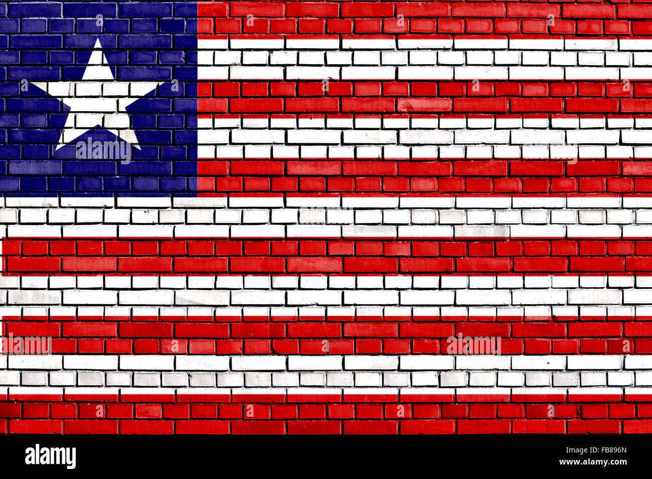 flag of Liberia painted on brick wall - Stock Image