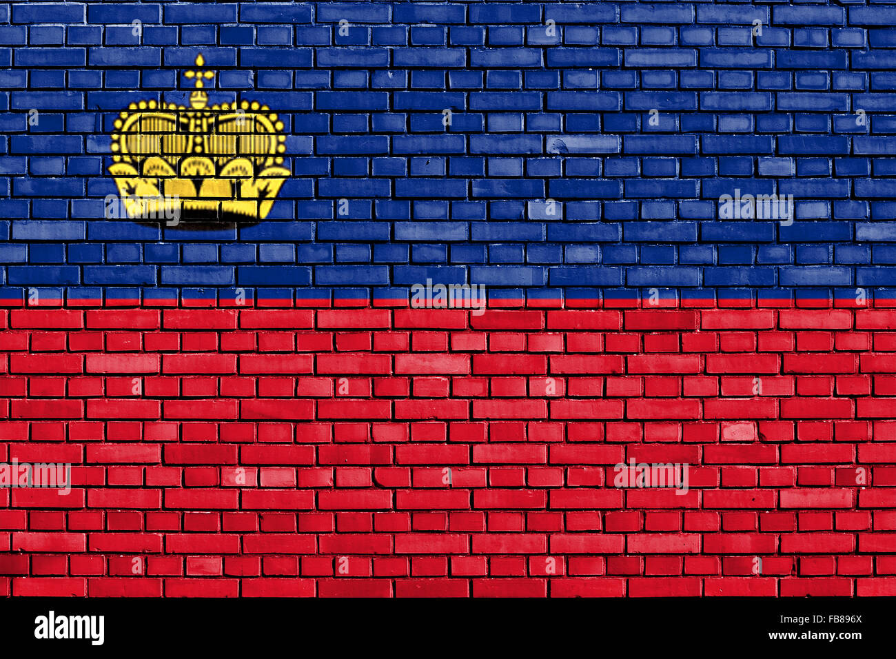flag of Liechtenstein painted on brick wall - Stock Image