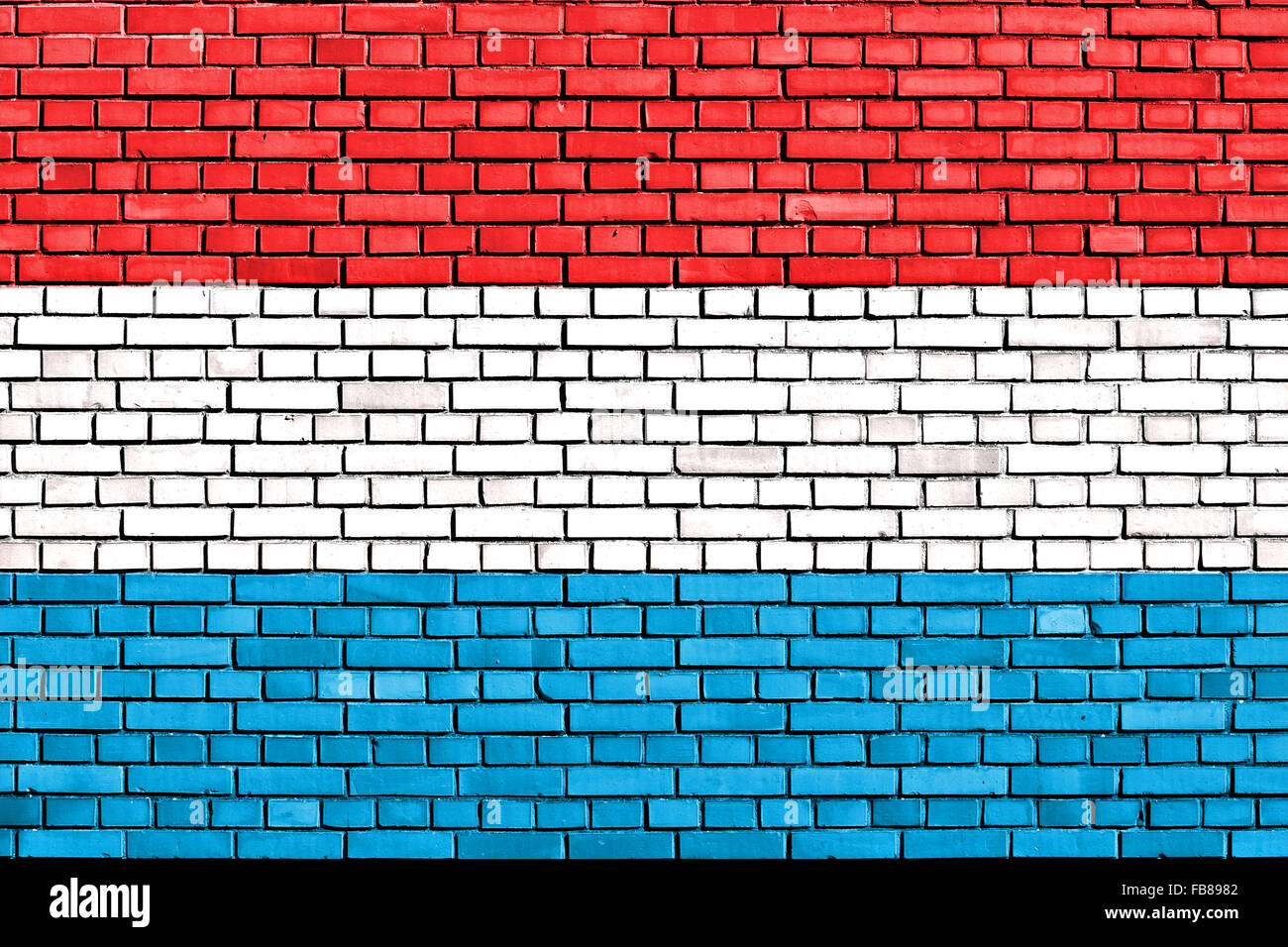 flag of Luxemburg painted on brick wall - Stock Image