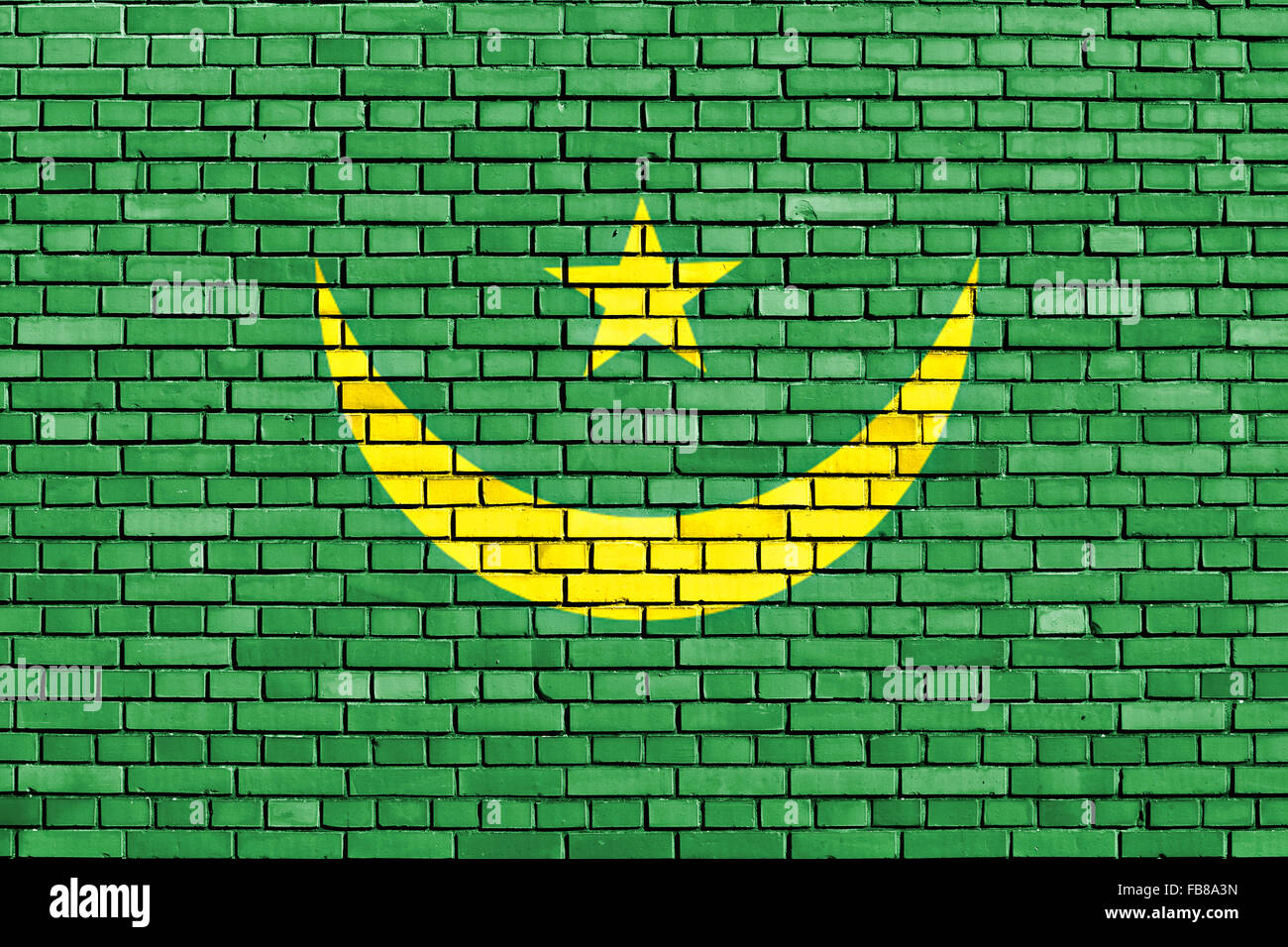 flag of Mauritania painted on brick wall - Stock Image