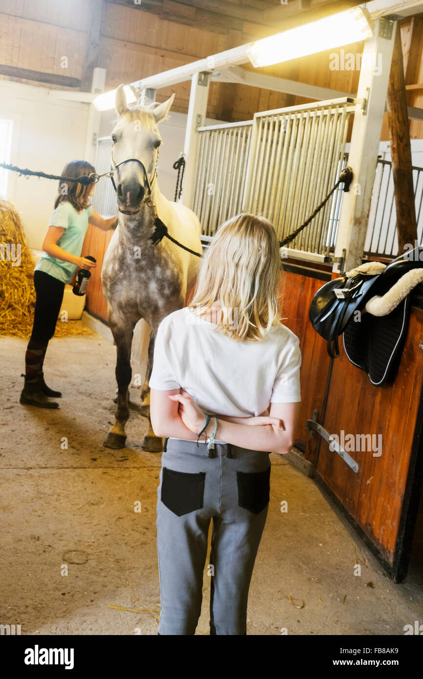 Sweden, Smaland, Vastervik, Hummelstad, Girls (10-11, 12-13) and white horse in stable Stock Photo