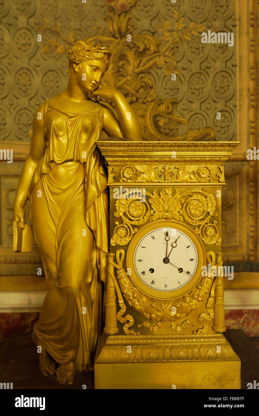 Clock with the Sculpture Depicting the Meditation by Pierre-Philippe Thomire (1751-1843), Palazzo Reale, Napoli, - Stock Image