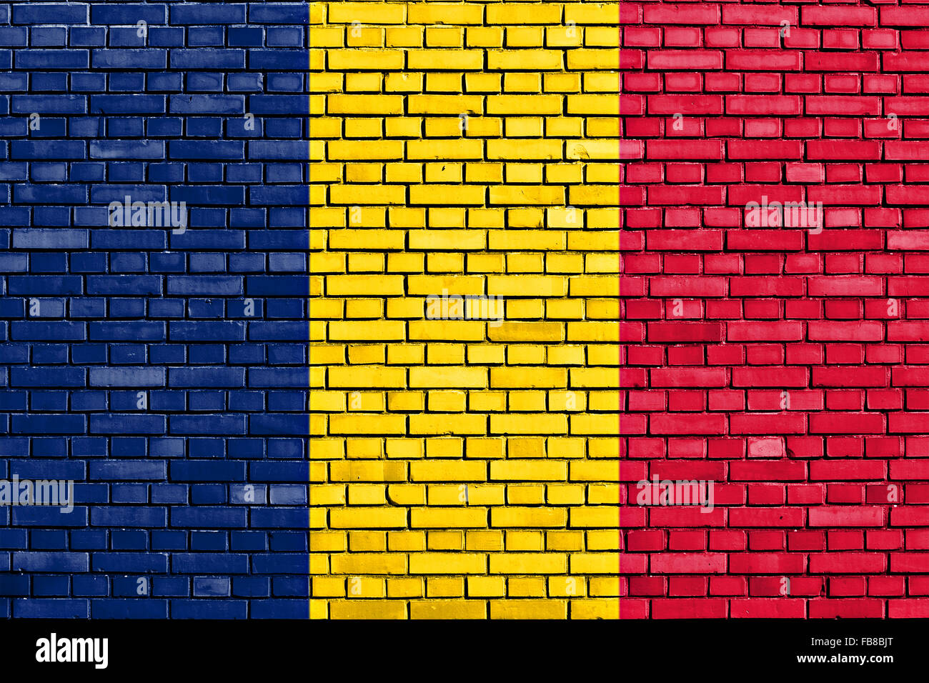 flag of Tchad painted on brick wall - Stock Image