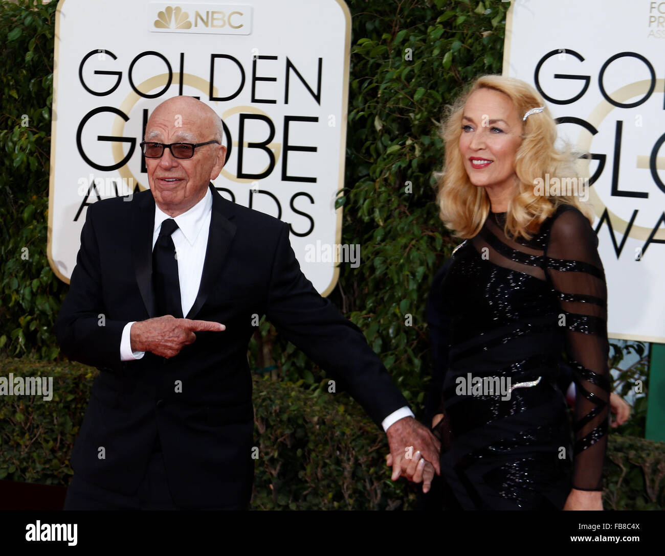 Beverly Hills, California, USA. 10th Jan, 2016. Rupert Murdoch and Jerry Hall arrive for the 73rd Annual Golden Stock Photo