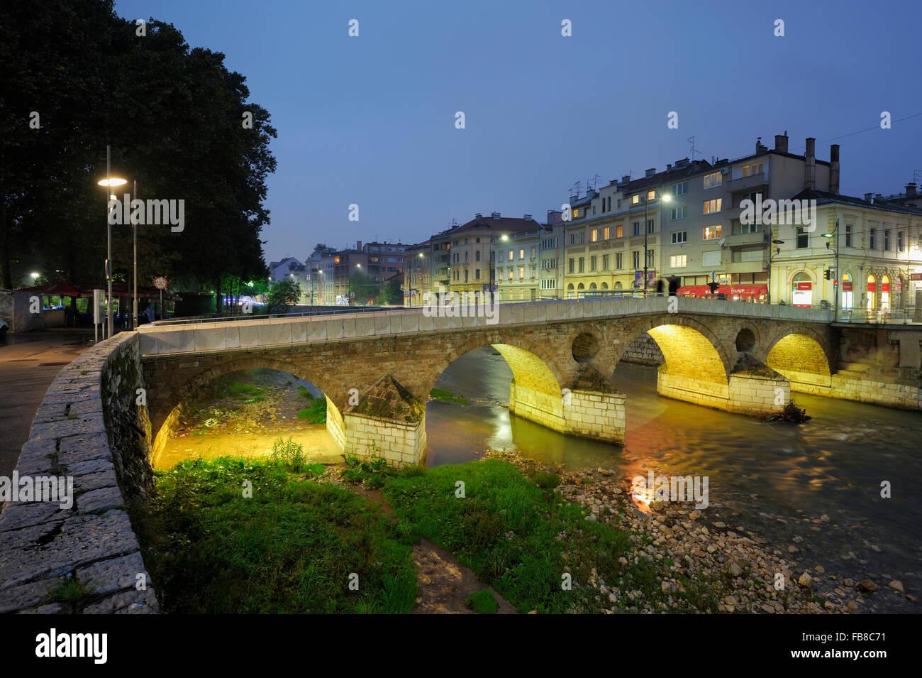Latinska Cuprija (Latin Bridge), Stari Grad, Sarajevo, Kanton Sarajevo, Federacija Bosne i Hercegovine, Bosnia and - Stock Image