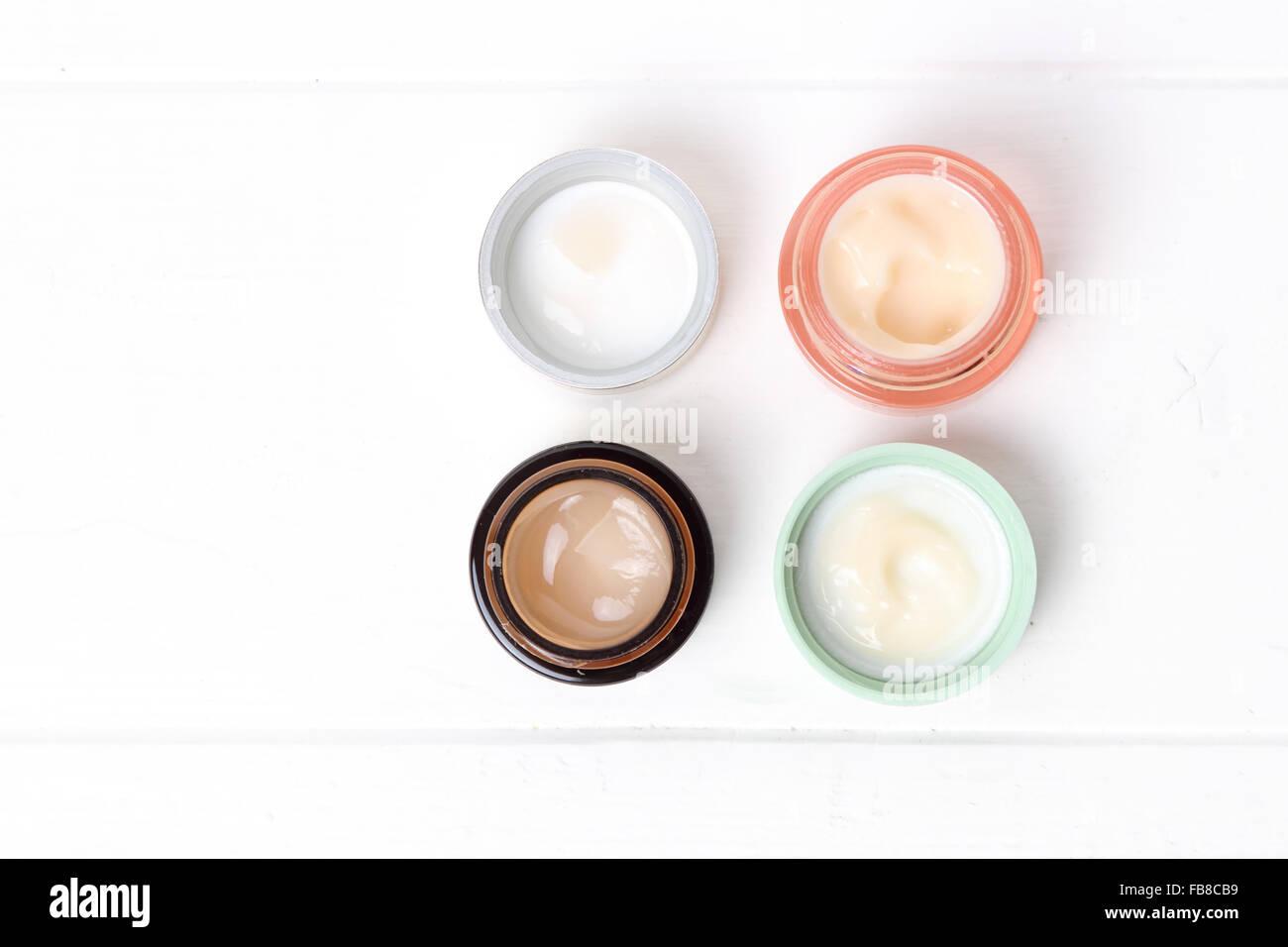 Jars of cosmetic cream - Stock Image