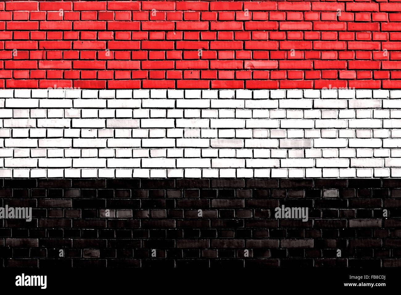 flag of Yemen painted on brick wall - Stock Image