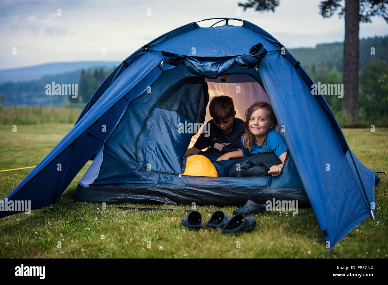 Sweden, Dalarna, Salen, Children (8-9, 10-11) in tent in meadow - Stock Image
