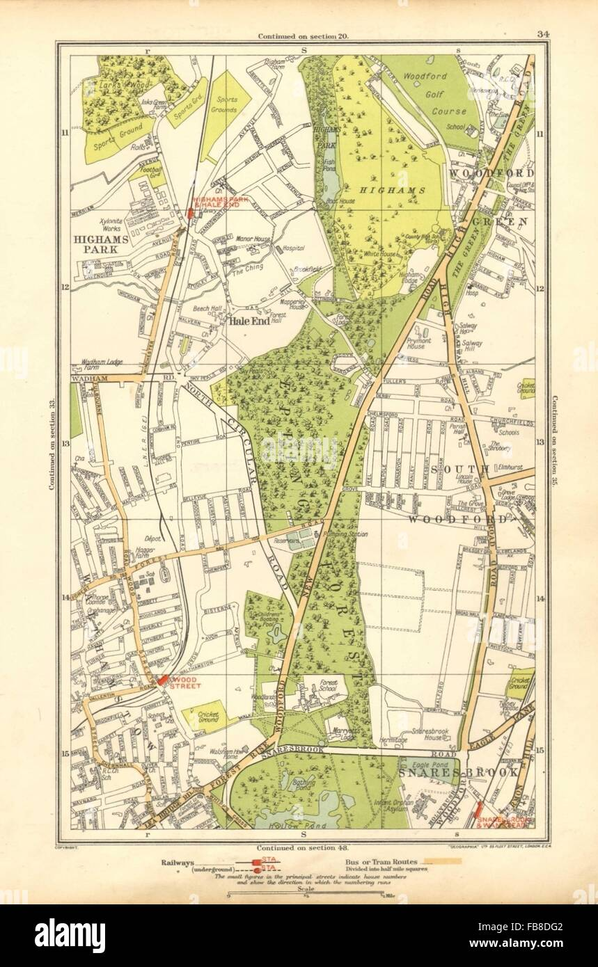 Maps, Atlases & Globes Art Hale End Highams Park Snaresbrook Wanstead 1933 Old Map Moderate Price Kind-Hearted Woodford Green