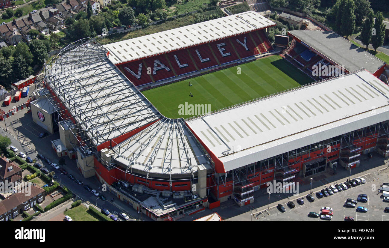 aerial view of Charlton Athletic football stadium The Valley in East London, UK - Stock Image