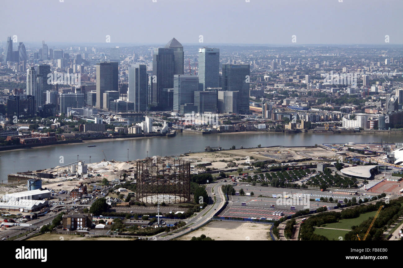 aerial view of Canary Wharf, London Docklands skyline across The Thames from the Blackwall Tunnel Southern Approach, Stock Photo