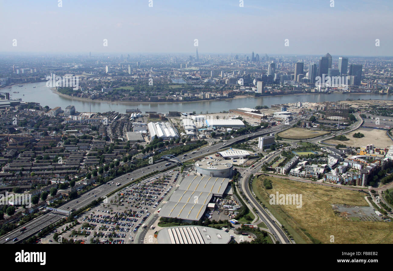 aerial view of Millennium Leisure Park, Bugsby's Way, North Greenwich looking along the A102 towards London - Stock Image