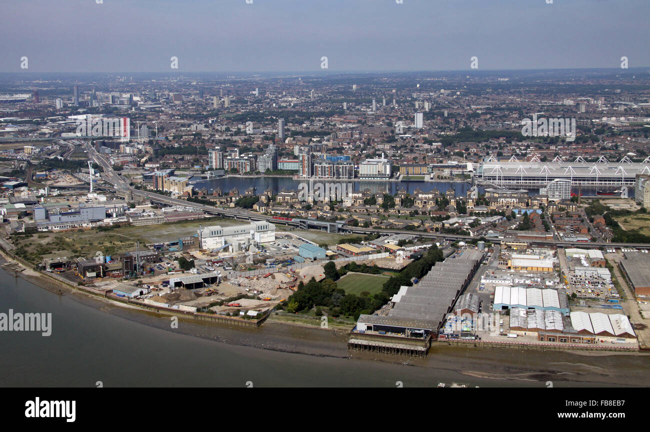aerial view across TheThames towards Excel London & Gallions Point Marina, UK - Stock Image