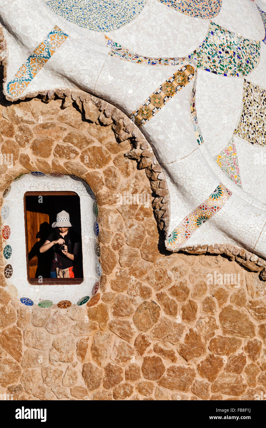 Roof and window Detail of the caretaker's Lodge at Park Guell, Barcelona, Catalonia, Spain. - Stock Image