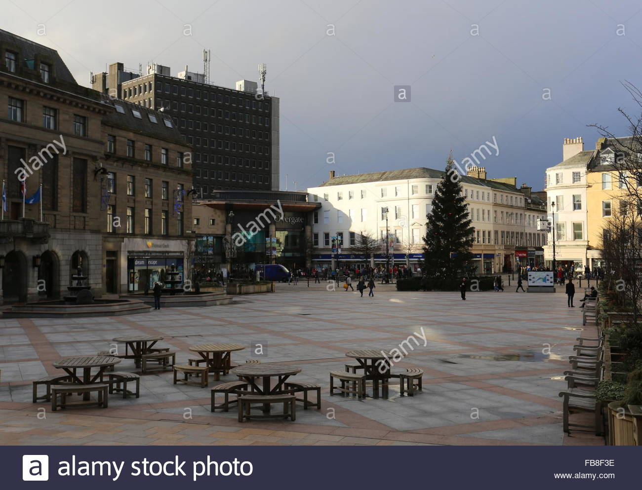 City Square, Overgate shopping centre and Christmas tree Dundee Scotland  December 2015 - Stock Image