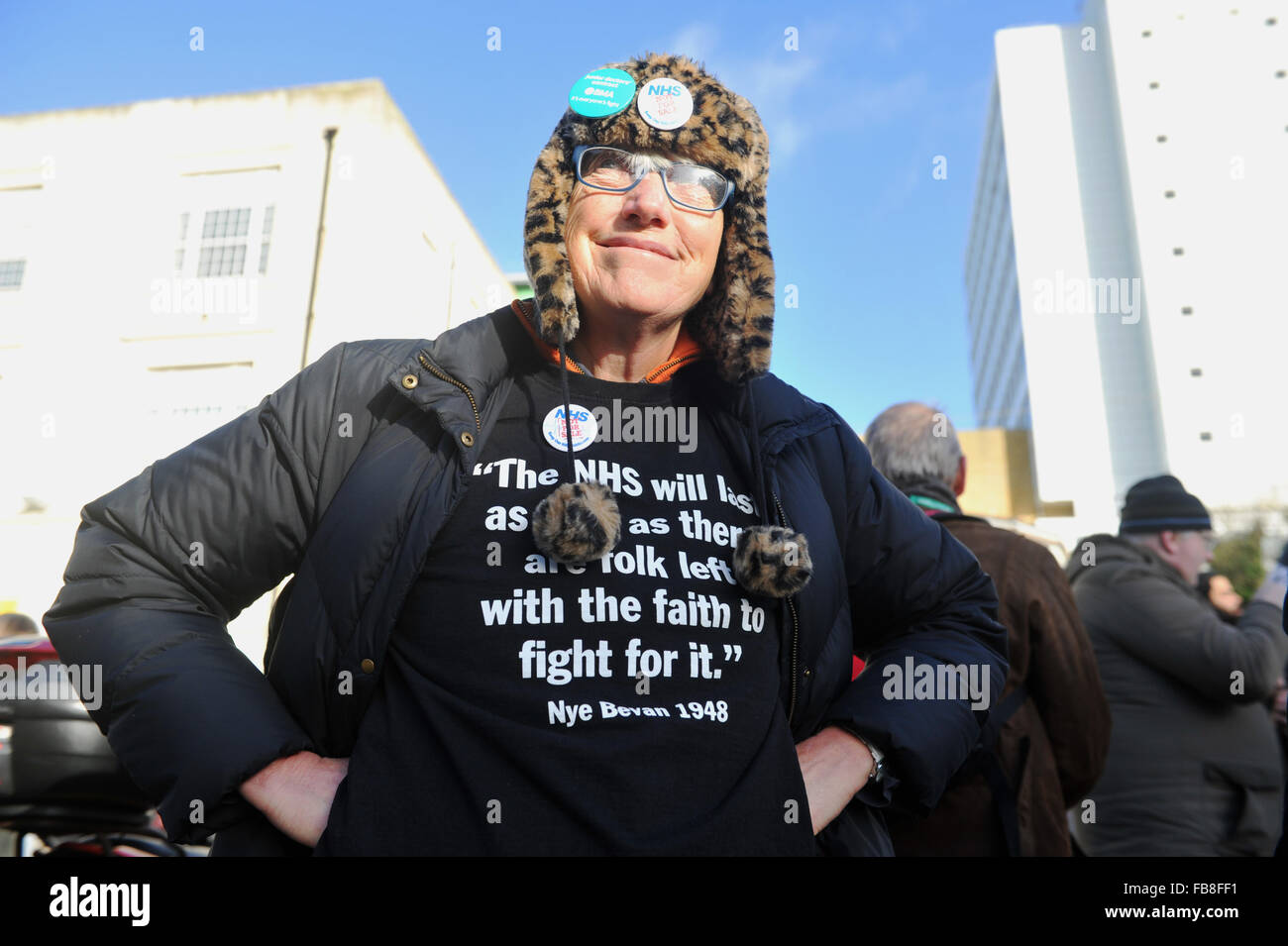 Brighton UK 12th January 2016 - A lady with a Nye Bevan shirt on the picket line as junior doctors  go on strike - Stock Image