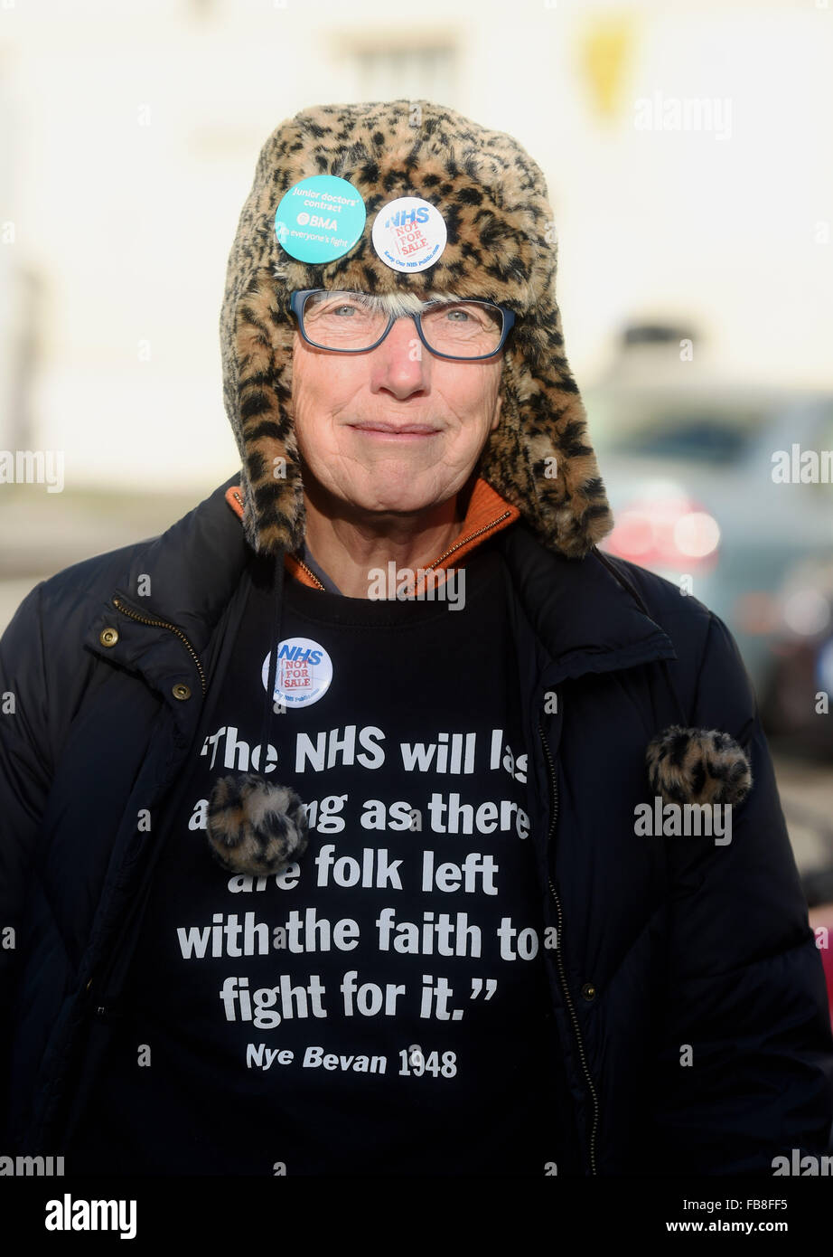 Brighton UK 12th January 2016 - Junior doctors on strike outside the Royal Sussex County Hospital in Brighton today - Stock Image