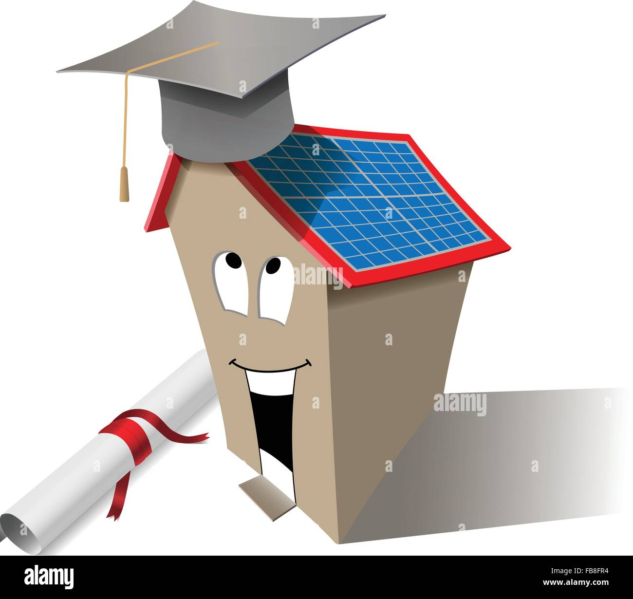 Vector Smart House Concept With Graduation Cap and Diploma, Eps10 Vector, Transparency Used - Stock Image